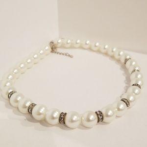 Jewelry - Simulated Pearl & Rhinestone Bridal Necklace